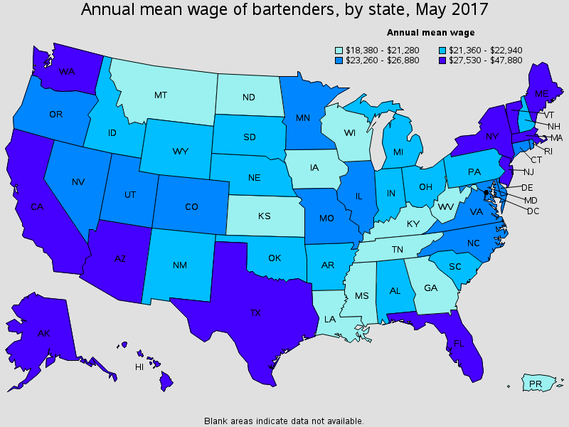 How much bartenders make by state